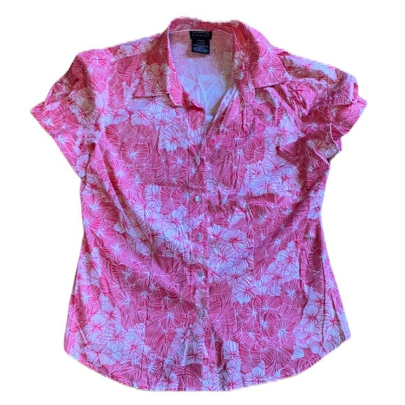 George, Stretch, floral, pink/white, button up